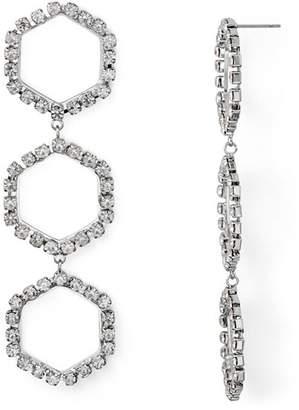 Aqua Triple Crystal Hexagon Drop Earrings - 100% Exclusive