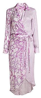 HEMANT AND NANDITA Women's Floral & Stripe Midi Shirtdress