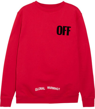 Off-White - Oversized Appliquéd Printed Cotton-jersey Sweatshirt - Red $595 thestylecure.com