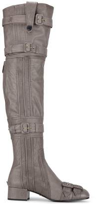 Prada Grey Buckle Leather thigh boots