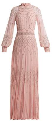 Temperley London Glide Sequinned Georgette Gown - Womens - Light Pink
