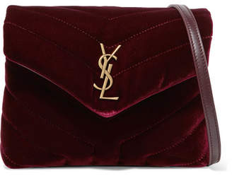 Saint Laurent Loulou Quilted Velvet Shoulder Bag - Burgundy