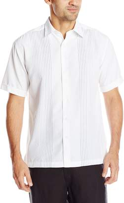 Cubavera Cuba Vera Men's Short Sleeve Textured Ombre Embroidery Woven Shirt