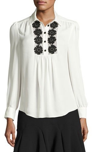 Kate Spade New York Silk Daisy Lace Henley Blouse, French Cream