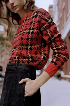 Urban Outfitters Andi Plaid Fitted Crew-Neck Sweater