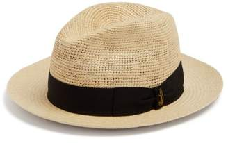 Borsalino Panama Woven And Crochet Straw Hat - Mens - Black Multi