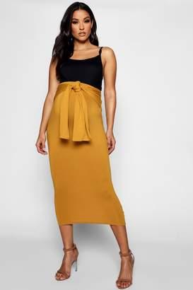 boohoo Maternity Tie Waist Midi Skirt