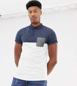 Asos DESIGN tall polo shirt with contrast yoke and pocket with roll sleeve in navy