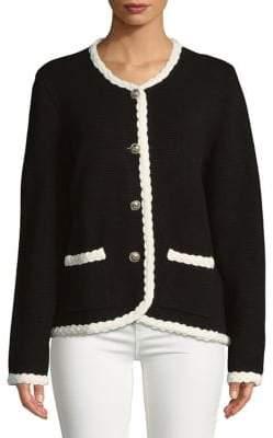 Karl Lagerfeld Paris Braided Button-Down Cardigan