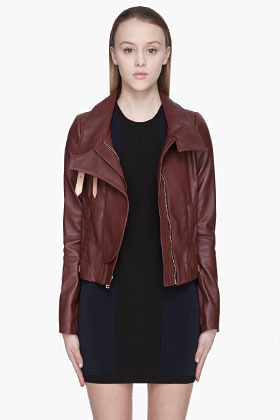 A.L.C. Burgundy and beige leather Shaw biker Jacket