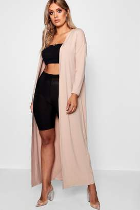 boohoo Plus Rib Longline Long Sleeve Cardigan