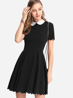 Shein Peter Pan Collar Scalloped Edge Flare Dress