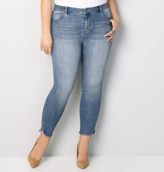 Avenue Virtual Stretch Tulip Slit Ankle Jean in Med Wash