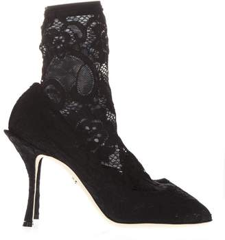 Dolce & Gabbana Black Ankle Boot In Stretch Lace And Gros Grain