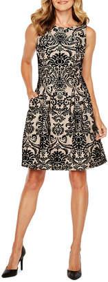 Danny & Nicole Sleeveless Flocked Velvet Fit & Flare Dress