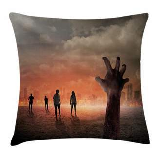 East Urban Home Zombie Decor Death Burning City Square Pillow Cover East Urban Home