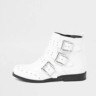 River Island Girls white stud buckle ankle boots