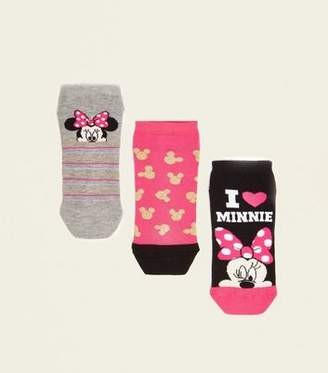New Look 3 Pack Pink Minnie Mouse Trainer Socks