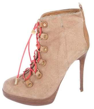 Tory Burch Suede Lace-Up Boots