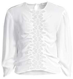 Sandro Women's Lace Puff Sleeve Silk Blouse - White - Size 3 (L)