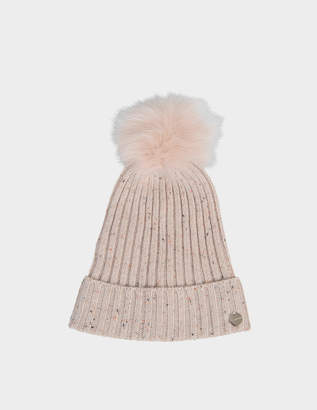 Yves Salomon knit hat and fox pompon