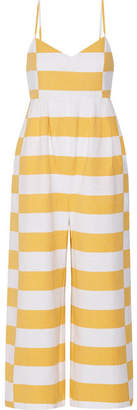 Mara Hoffman - Striped Organic Cotton Jumpsuit - Marigold $375 thestylecure.com