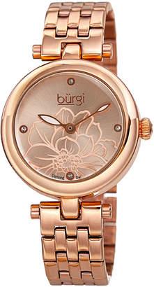 Burgi Womens Rose Goldtone Strap Watch-B-223rg