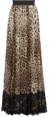Dolce & Gabbana Lace-Paneled Leopard-Print Silk-Blend Chiffon Maxi Skirt