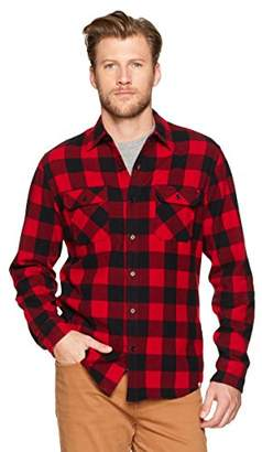 Buffalo David Bitton Wood Paper Company Men's Long Sleeve Cotton with Peach Regular Fit Red Plaid Shirt
