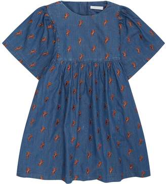 Chloé Denim Horse Embroidered Dress