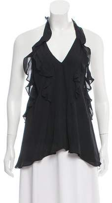 L'Agence Gabriel Tiered Ruffle Halter Top