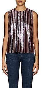 Robert Rodriguez Women's Tie-Back Striped Sequined Top - Purple