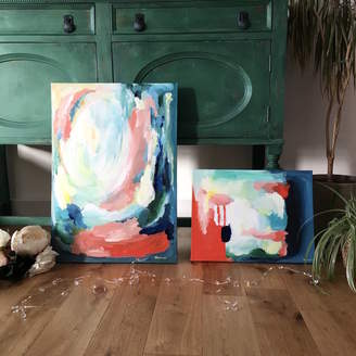 Paint-Me-Happy Art Red And Blue Abstract Paintings On Cotton Canvas Set