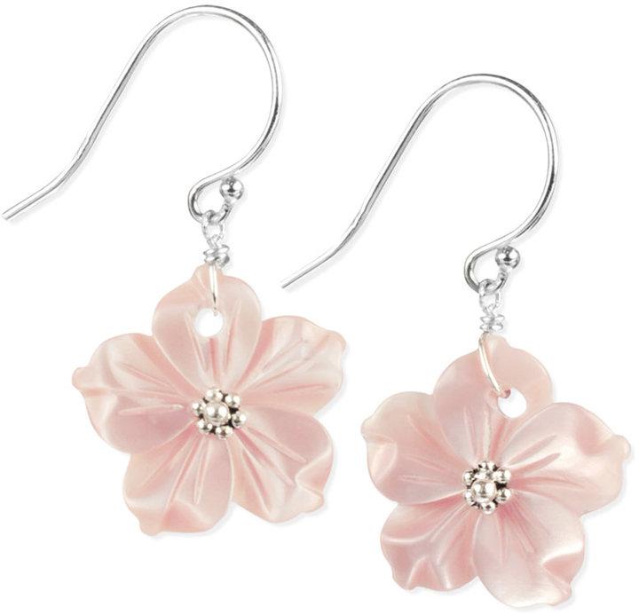 Mother of Pearl Sterling Silver Earrings, Pink Flower Earrings