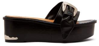 Toga Flatform Leather Sandals - Womens - Black