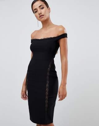 Bardot Vesper lace underlay bodycon midi dress in black
