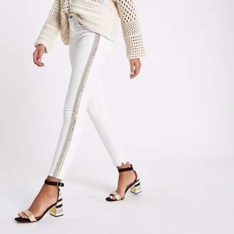 River Island Womens White Harper sequin detail super skinny jeans
