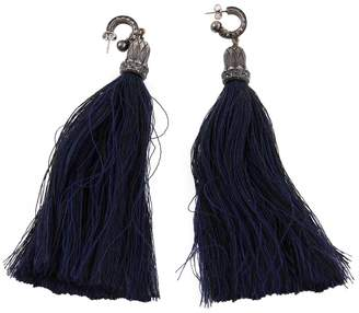Lanvin Navy Cloth Earrings