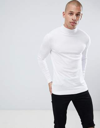 Asos DESIGN muscle fit turtleneck sweater in white