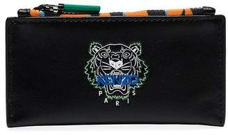 Kenzo black tiny tiger zipped leather card holder