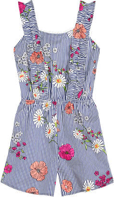 Monteau Big Girls Striped Floral-Print Romper
