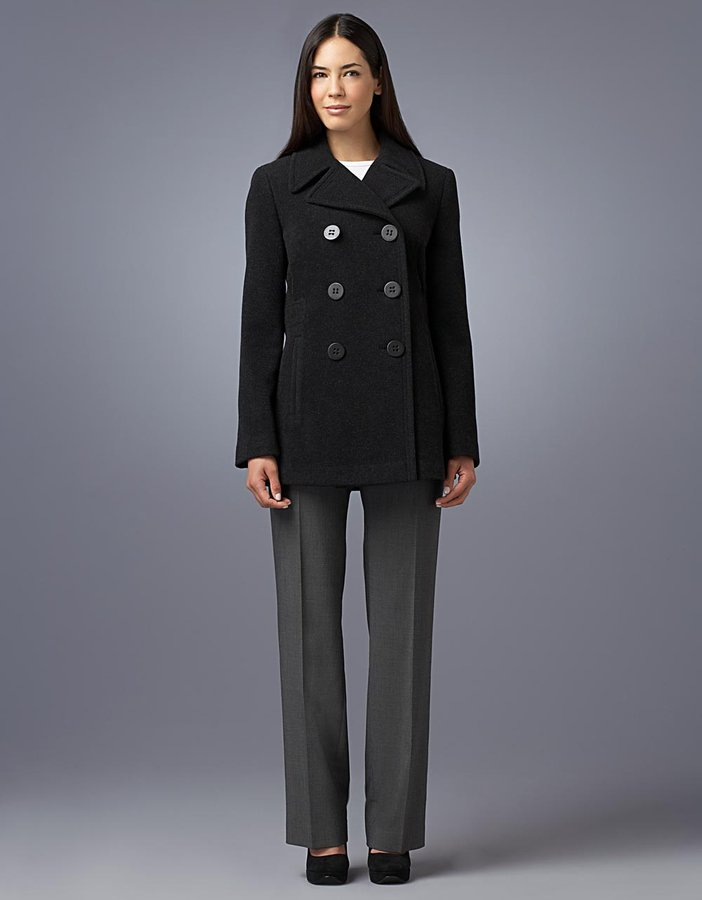 Calvin Klein Military-Style Double-Breasted Walker Coat