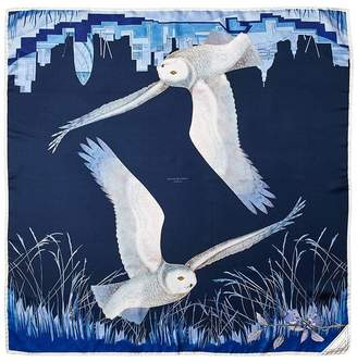 Aspinal of London Owl In The City Silk Scarf In Navy Cobalt Blue