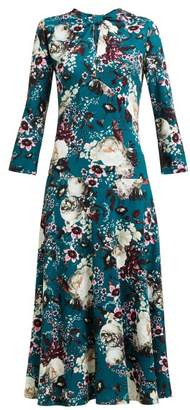 Erdem Caralina Floral Print Midi Dress - Womens - Green Print