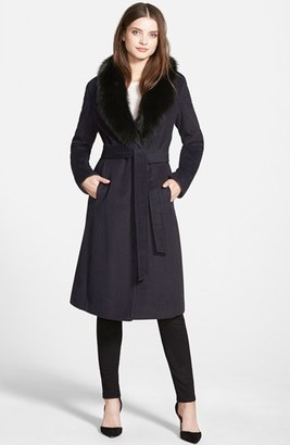 Women's Ellen Tracy Genuine Fox Collar Wool Blend Long Wrap Coat $675 thestylecure.com