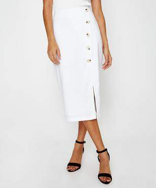 Alice In The Eve Julia Linen Button Midi White