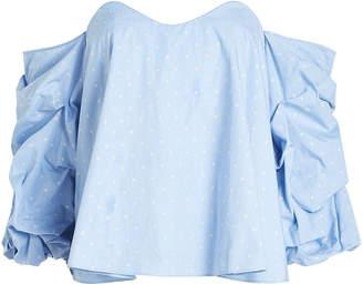 Caroline Constas Printed Cotton Off Shoulder Blouse