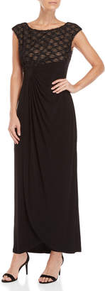 Connected Apparel Textured Top Faux Wrap Gown