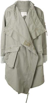 Greg Lauren asymmetric belted denim coat
