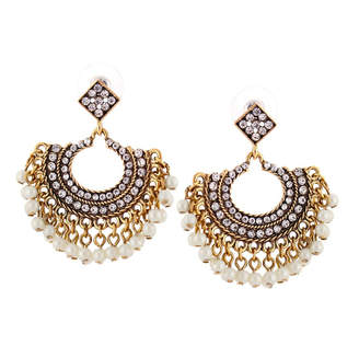 Crystal Pearl Embellish Earrings